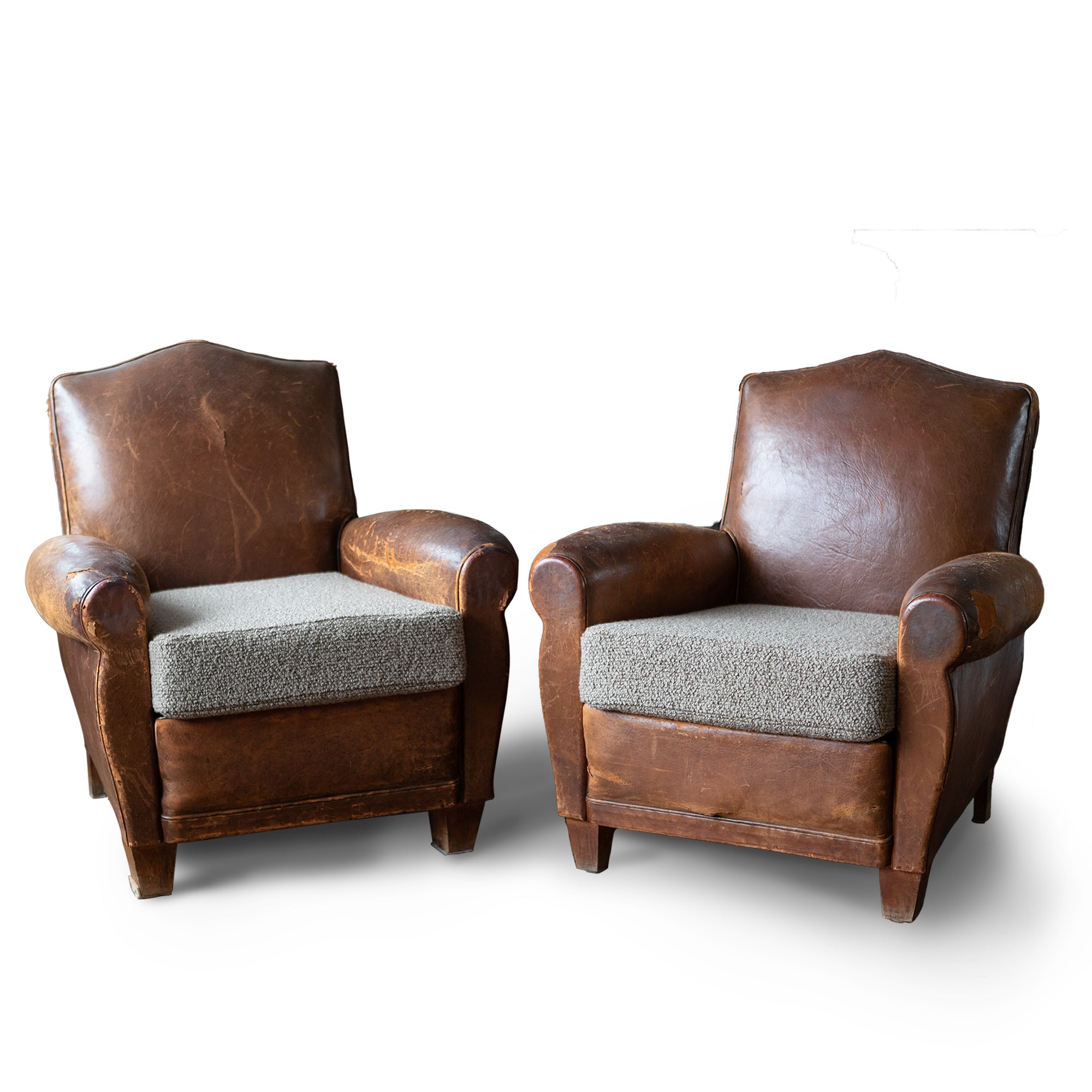 Pair of Antique Brown Leather Club Chairs | The Architectural Forum
