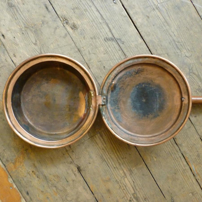 Antique Victorian Copper Bed Warming Pan