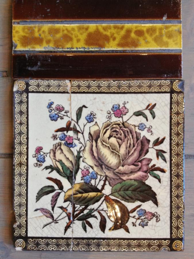 Floral fireplace tiles