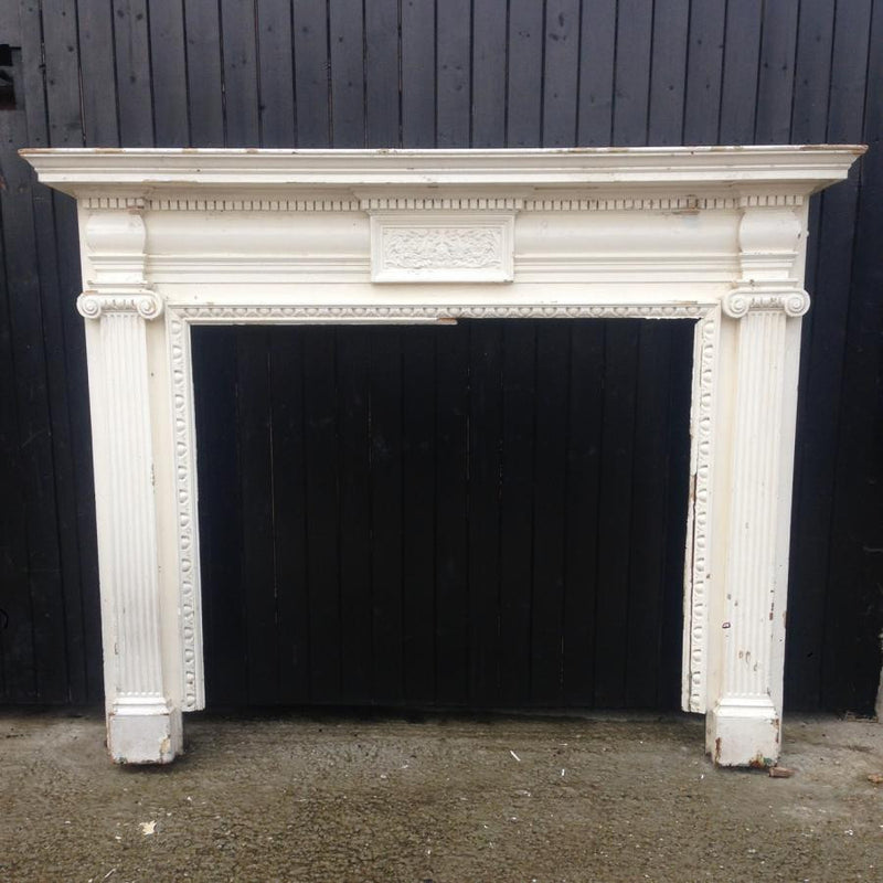 Antique Victorian Wooden Fireplace Surround · The