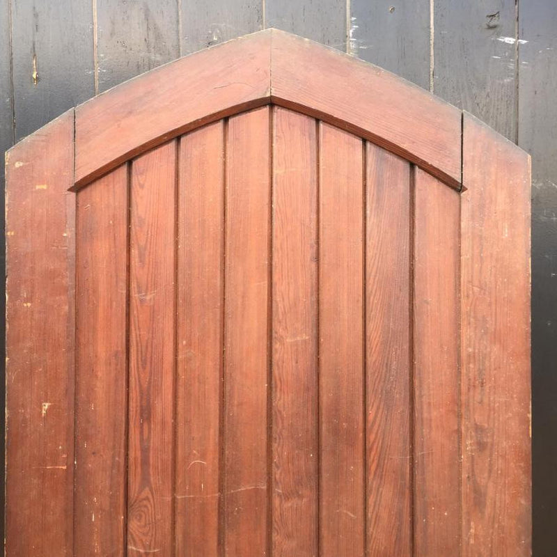 Antique Pitch Pine Arched Door - 218cm x 79cm - The Architectural Forum