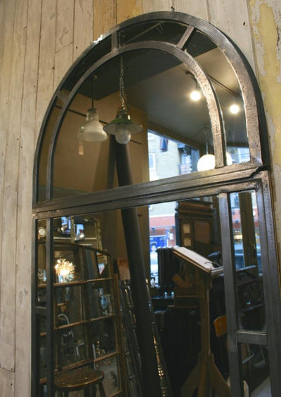 Antique Polished Cast Iron Arched Window Mirror - The Architectural Forum