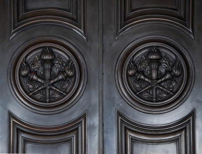 Carved entrance doors