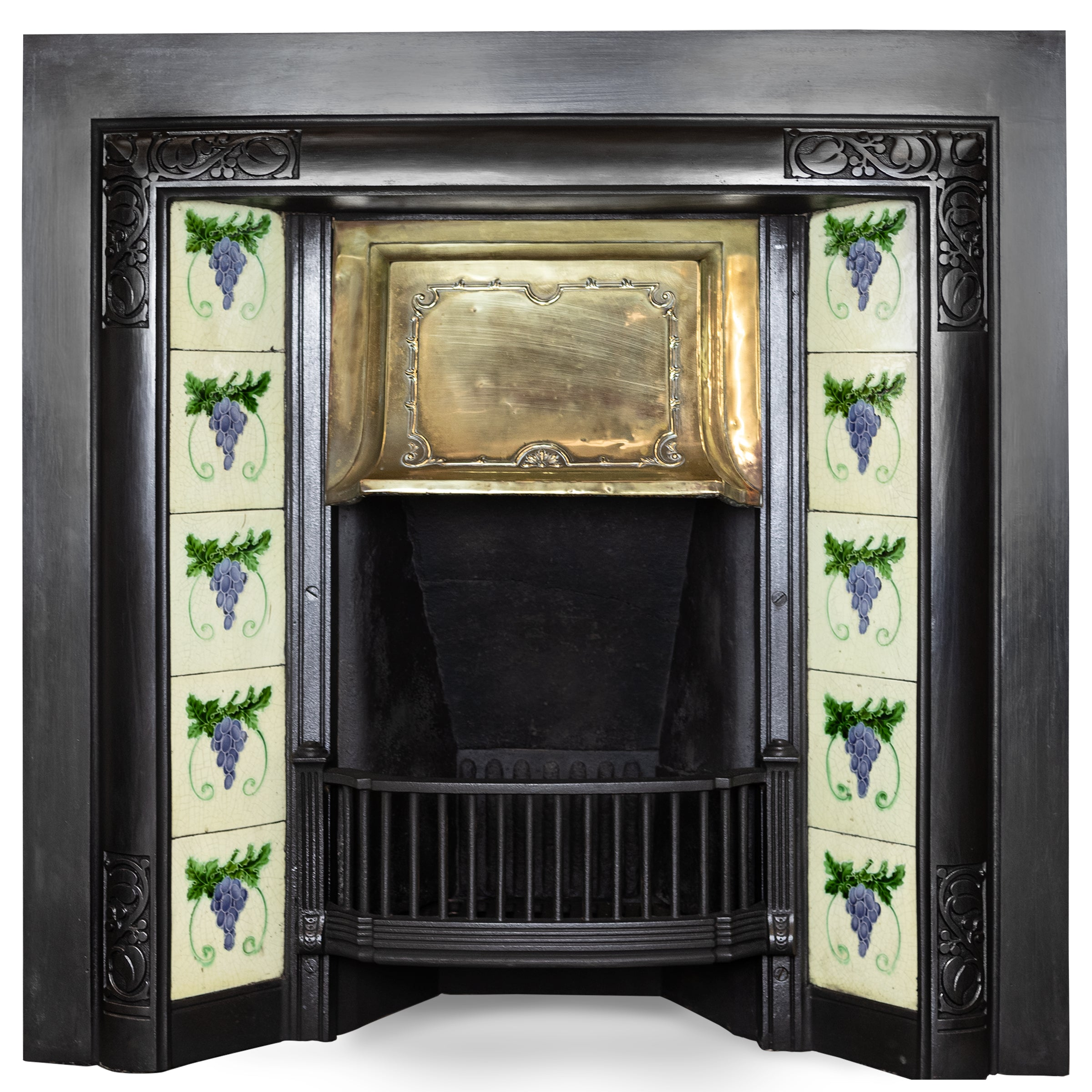 Antique Fireplace Tiled with Tiles and Brass Hood