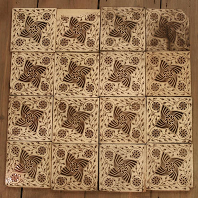 Set of 16 Antique Fireplace Tiles