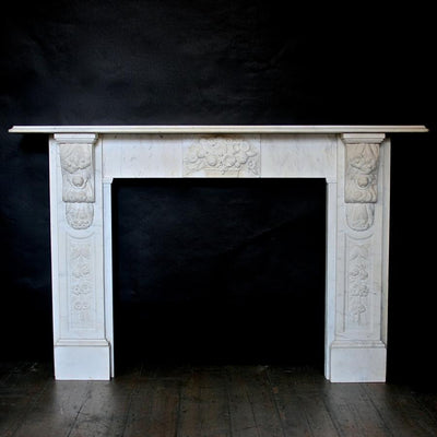 Antique Victorian Carved Marble Fireplace Surround - architectural-forum