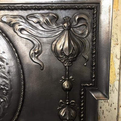 Antique Edwardian Polished Cast Iron Combination Fireplace - architectural-forum
