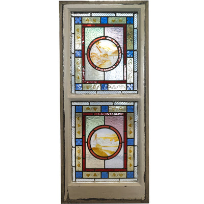 Antique Victorian Stained Glass Window Double Panel