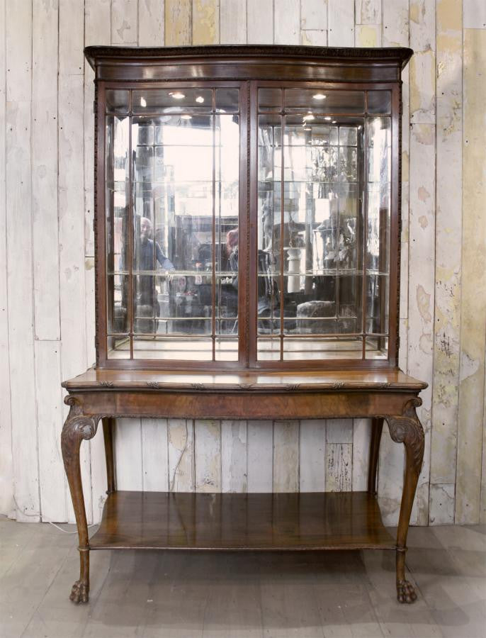 Antique Walnut Mirrored Vitrine Display Cabinet | The Architectural Forum