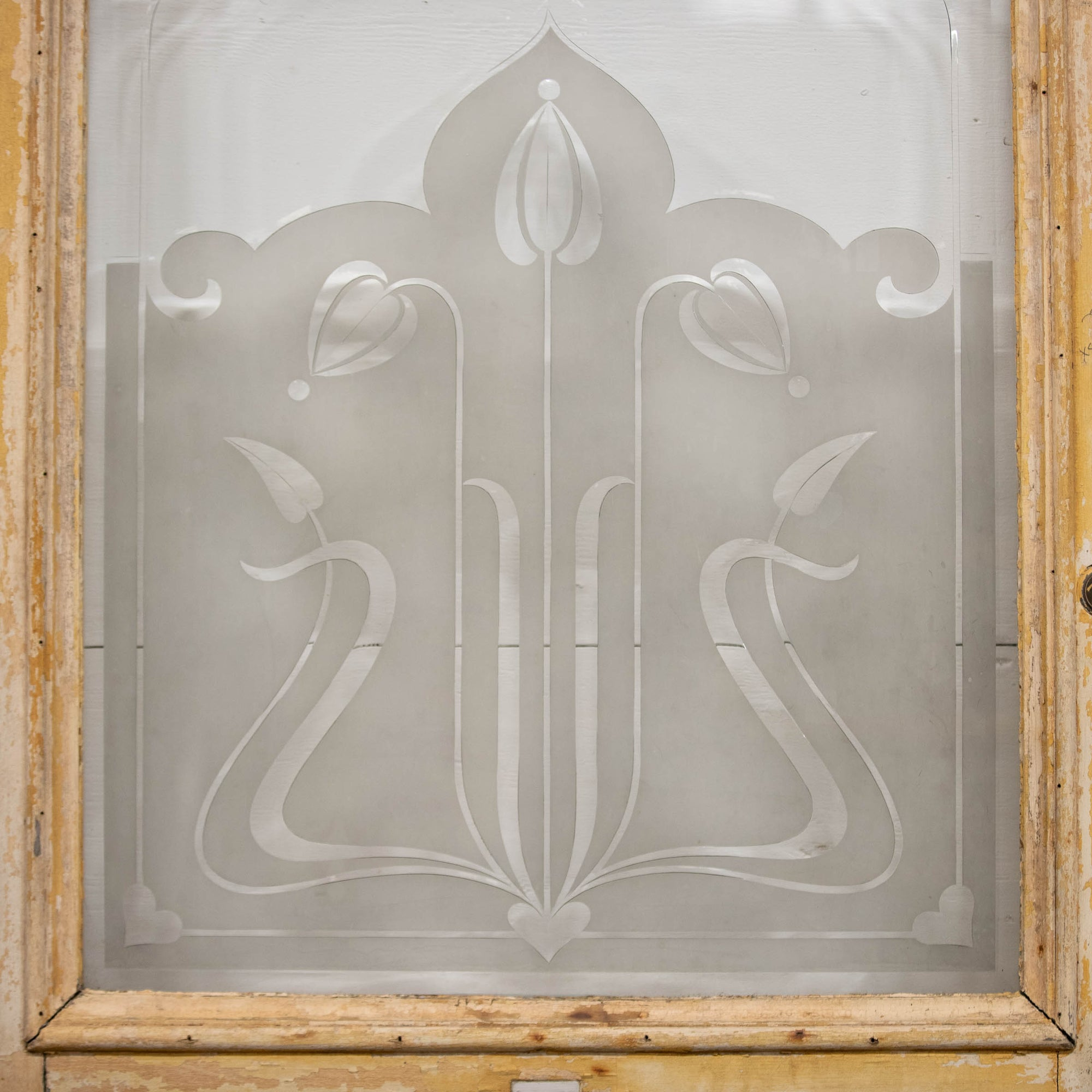 Antique Art Nouveau frosted etched glass front door | The Architectural Forum