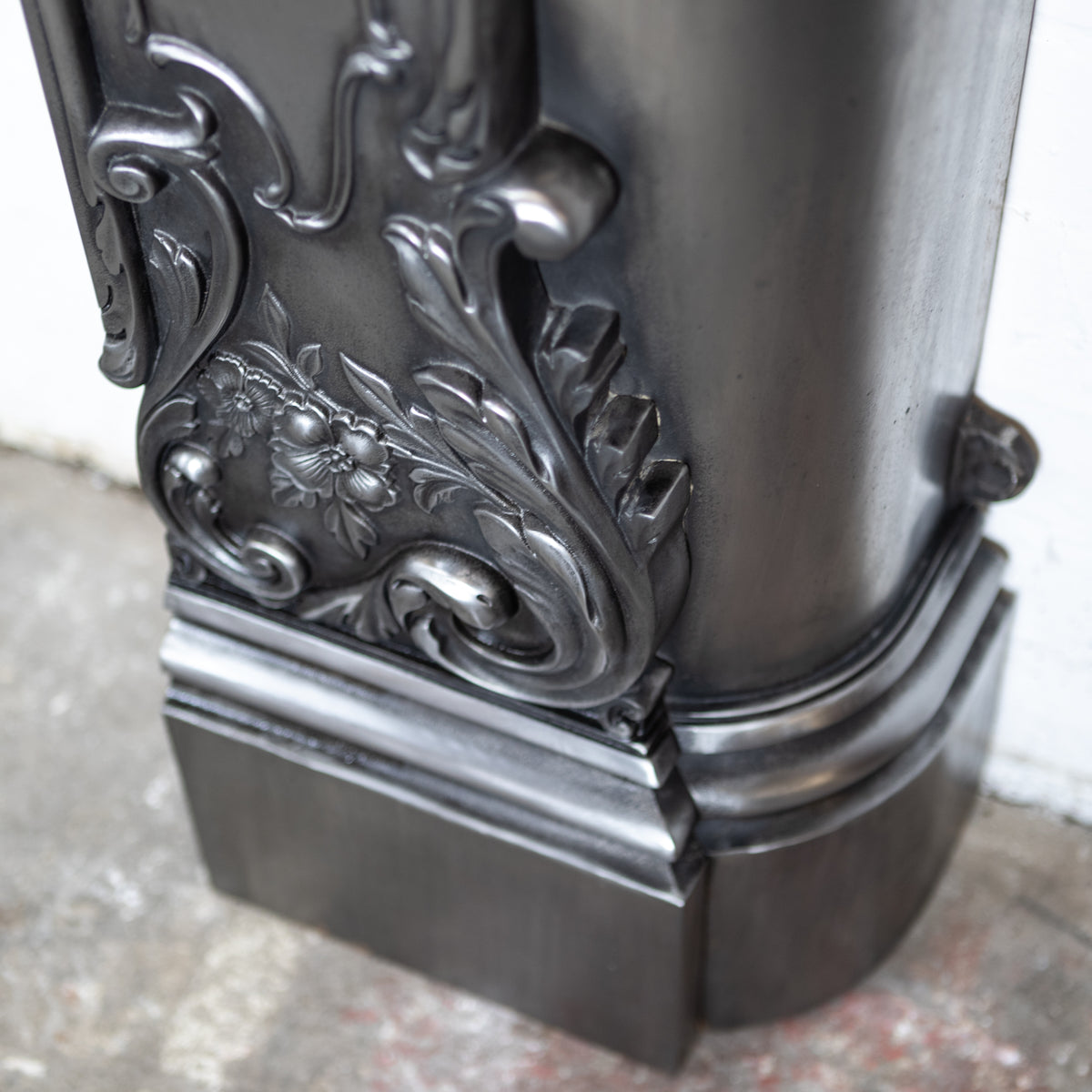 Antique Victorian Rococo Style Ornate Polished Cast Iron Fireplace Surround | The Architectural Forum