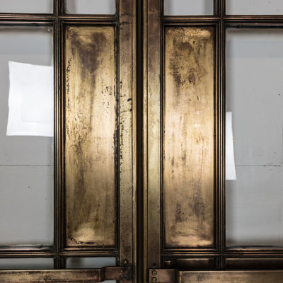 Original Art Deco Glazed Brass Double Doors