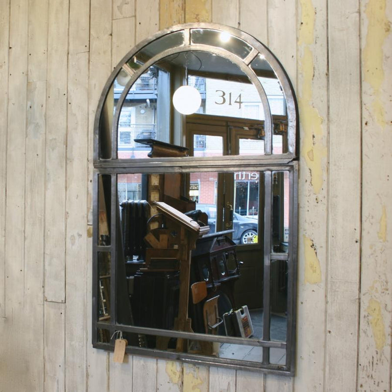 Antique Polished Cast Iron Arched Window Mirror
