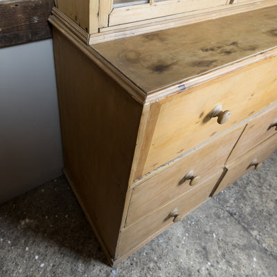 Antique Georgian Pine Dresser / Secretaire with Astral Glazing