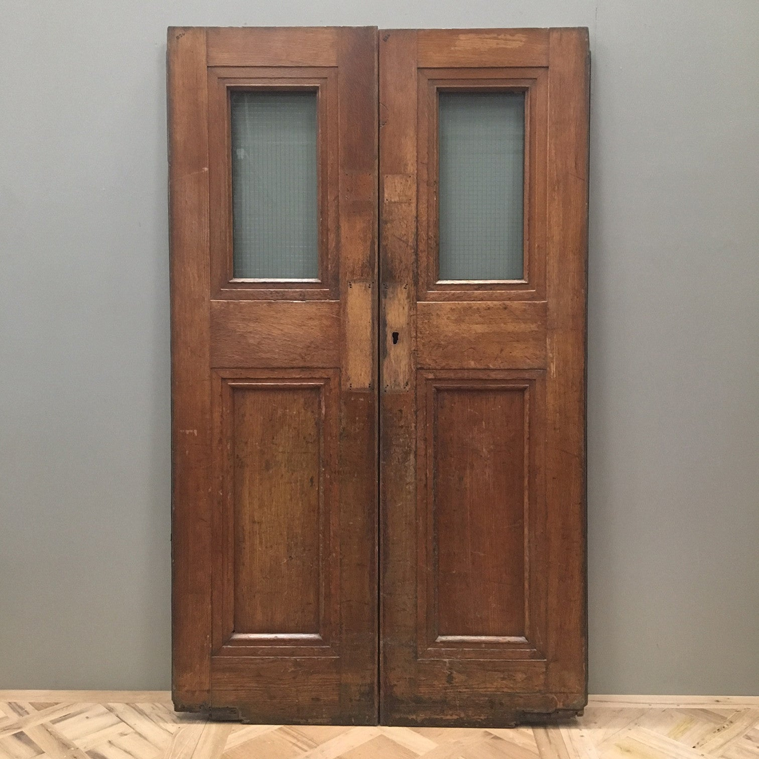 Reclaimed Oak Copper Light Double Doors 196cm x 117cm - architectural-forum