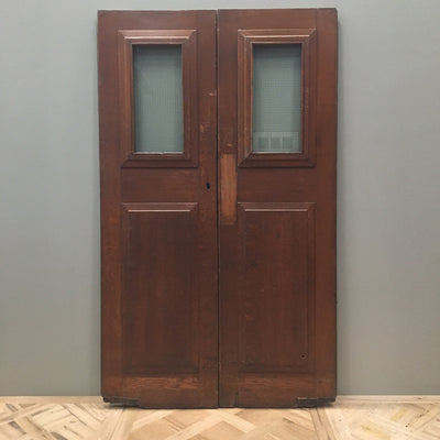 solid oak glazed internal external double door set