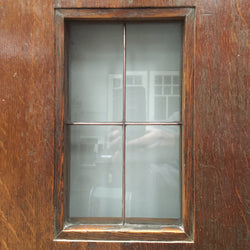 A pair of copper light doors in solid oak with aluminium kick plate. These beautiful doors were reclaimed from the London School of Economics, in Central London. Featuring four recessed panels, and two small copper light clear glazed panels. These doors will add character to any internal space.