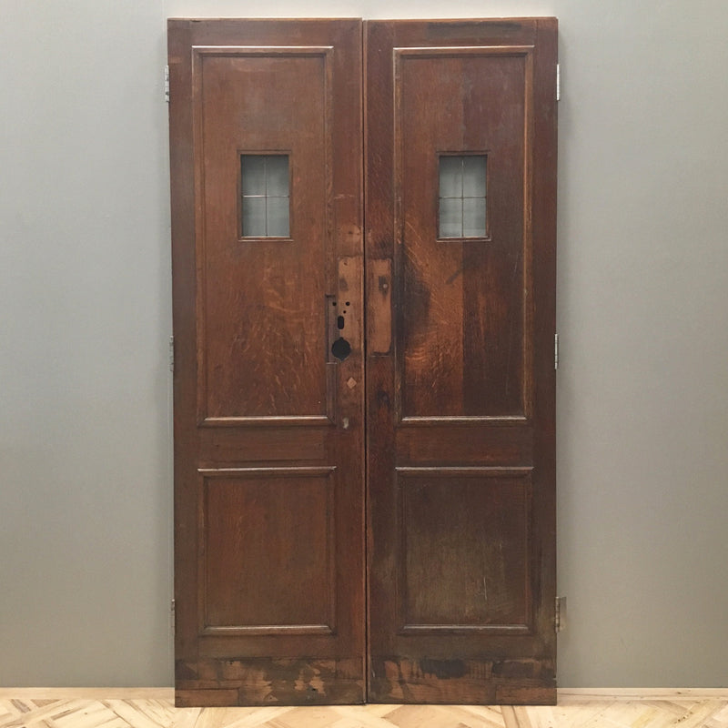 Reclaimed Oak Copper Light Double Doors - 120cm x 212cm - architectural-forum