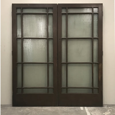 Reclaimed Teak Glazed Double Doors - 202cm x 229cm - architectural-forum