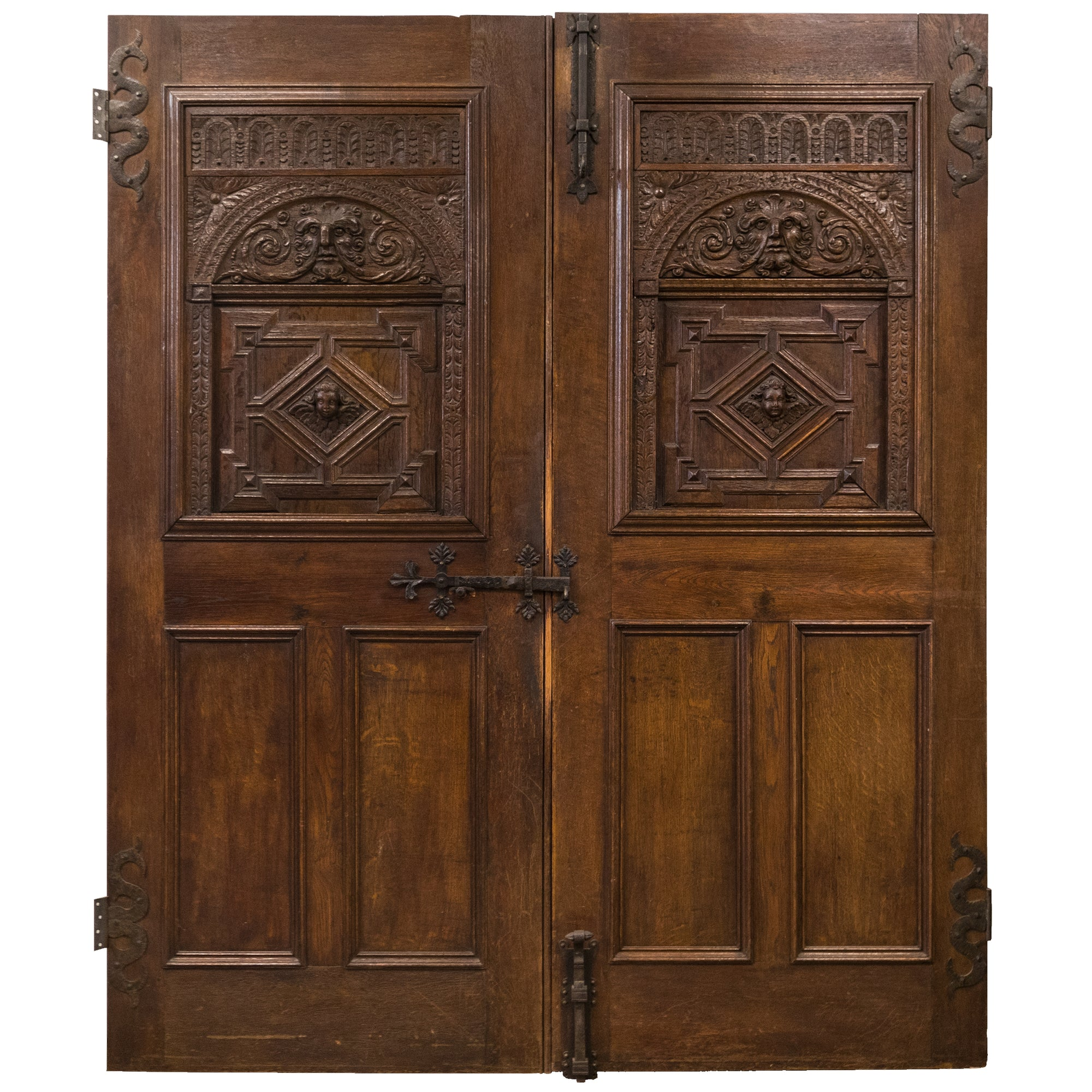 Reclaimed Mid 19th Century Hand Carved Oak Double Doors