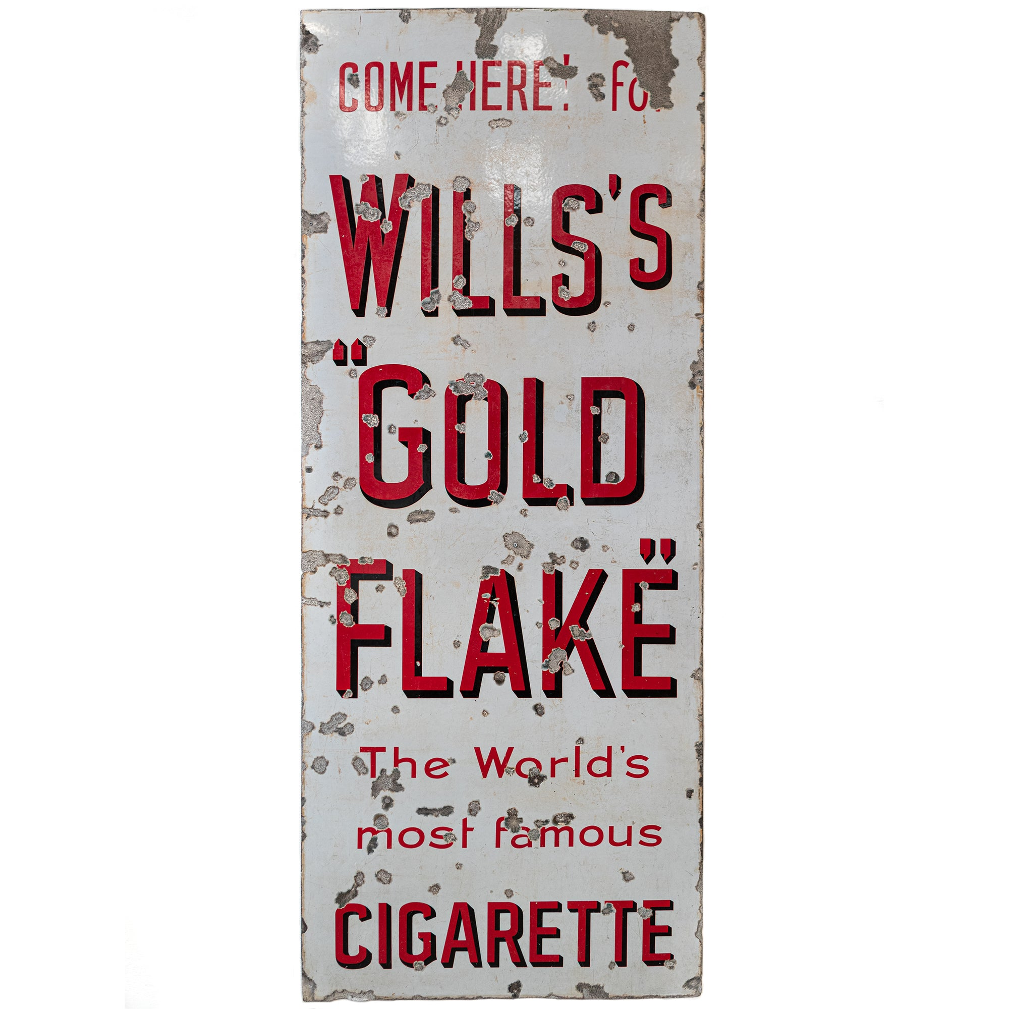Large Vintage Enamel Advertising Sign: Will's Gold Flake Cigarette