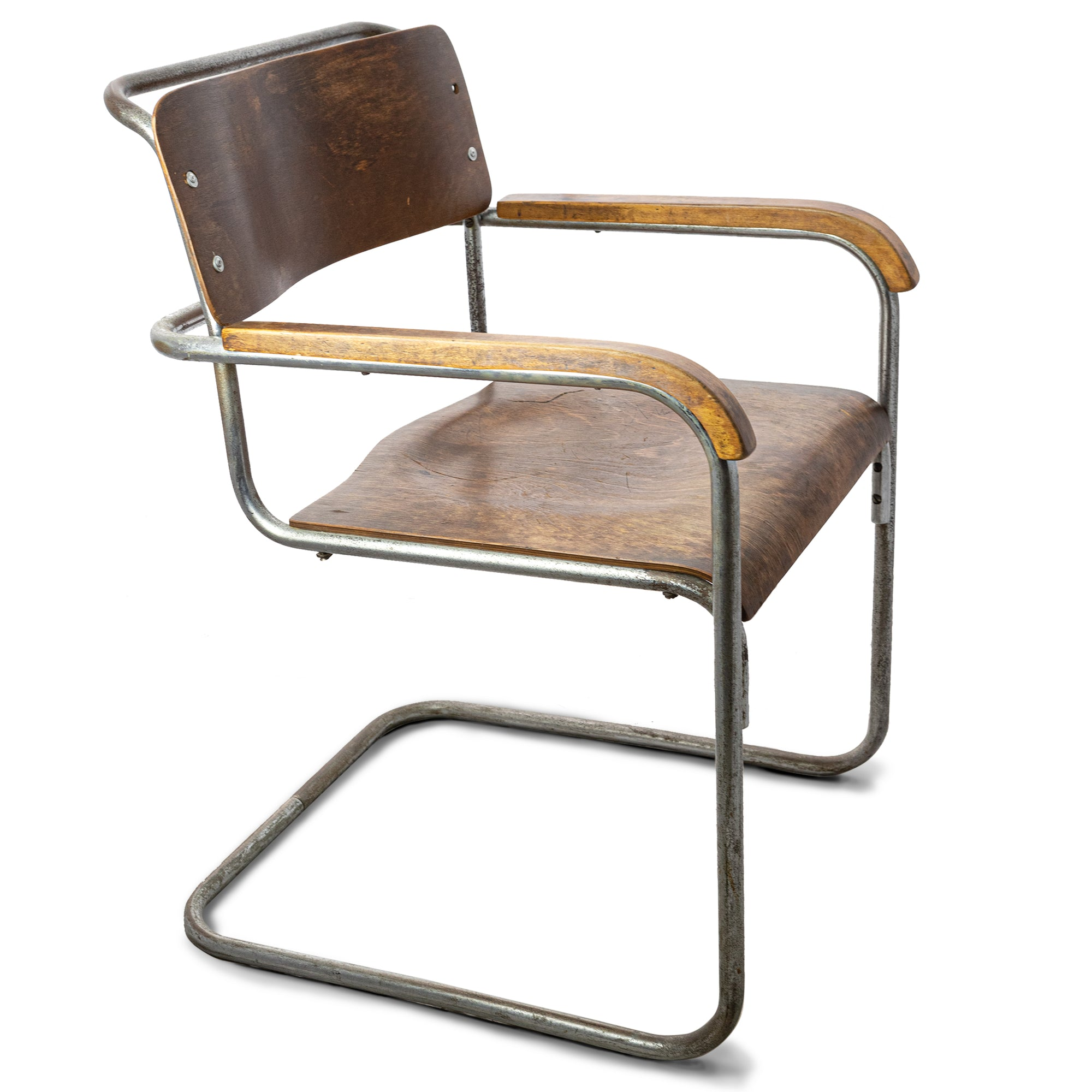 Reclaimed Bauhaus Wooden and Chrome Chair | The Architectural Forum