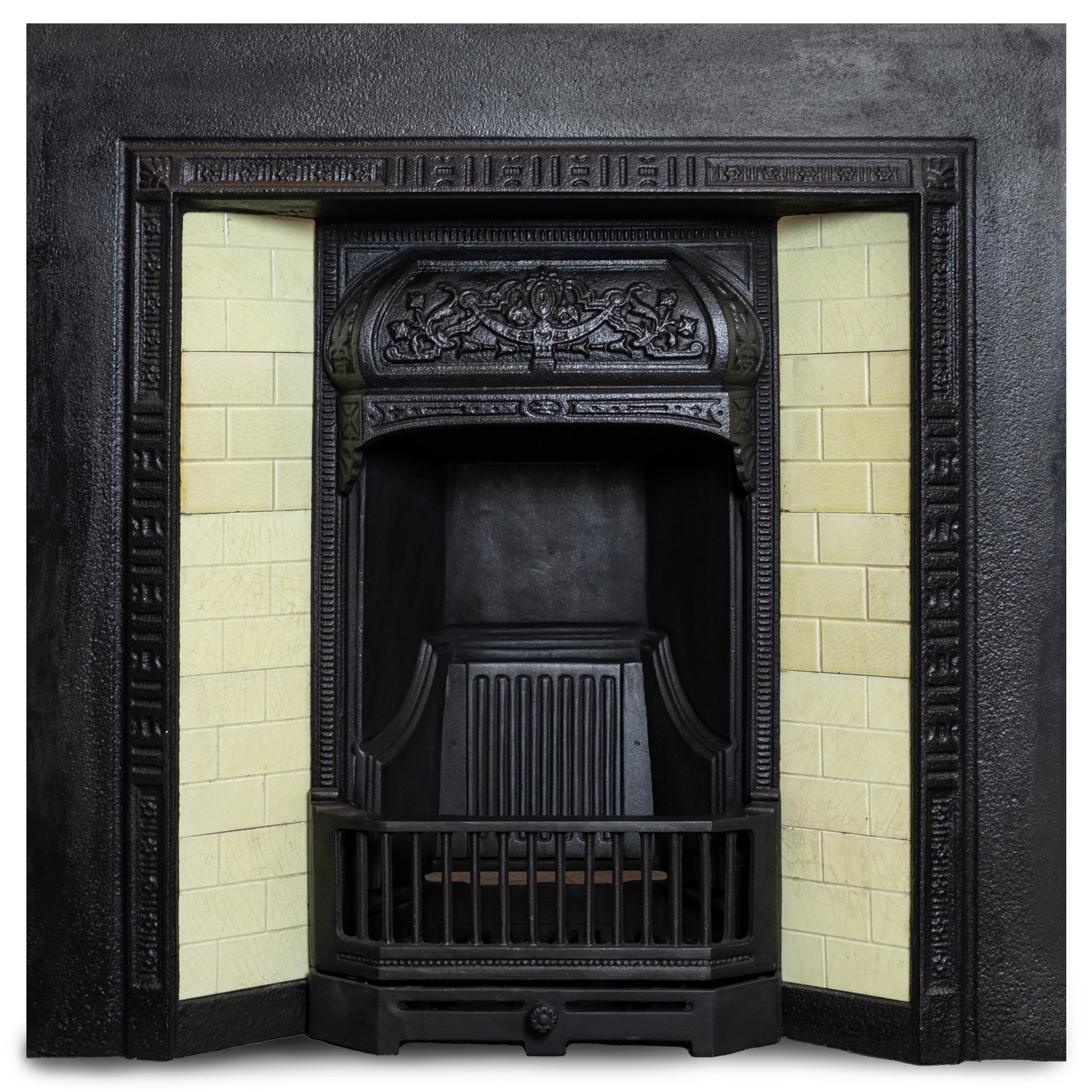 Antique Victorian Cast Iron Insert With Cream Tiles | The Architectural Forum
