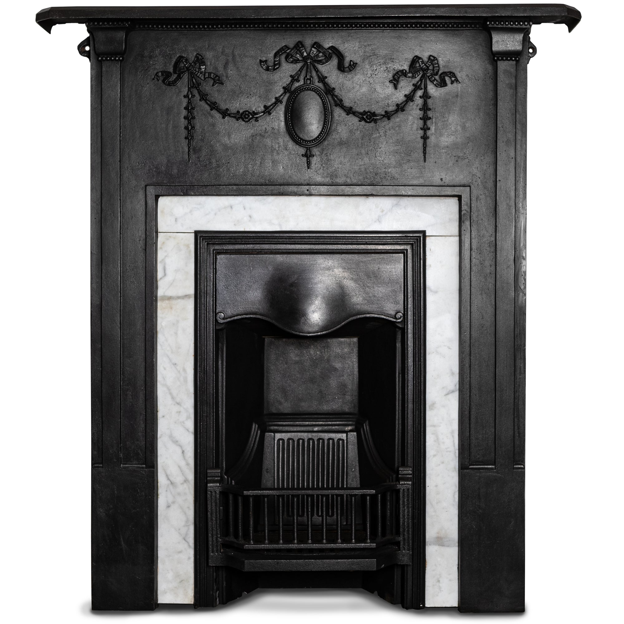 Antique Cast Iron Combination Fireplace With Carrara Marble | The Architectural Forum