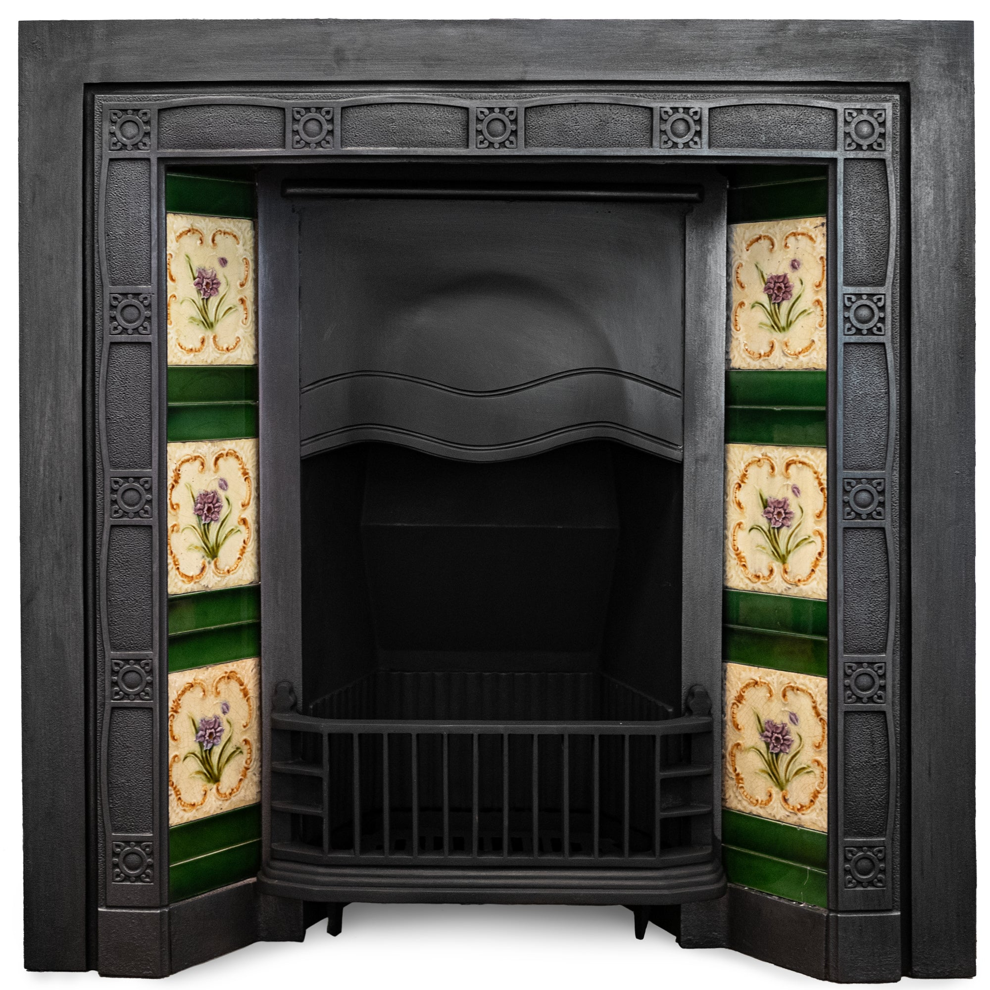 Antique Edwardian Cast Iron Fireplace Insert with Original Tiles | The Architectural Forum