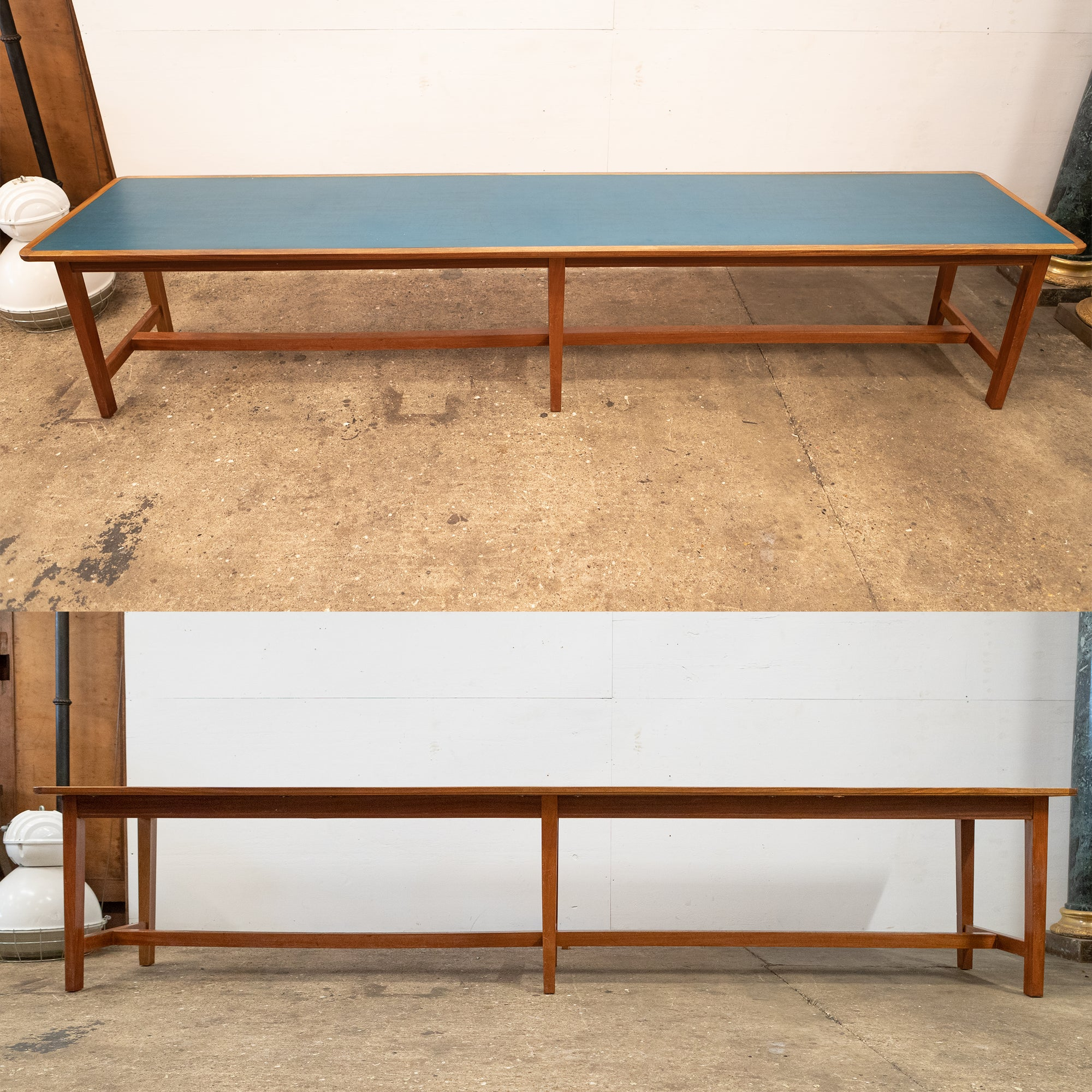 Long Mid-Century Mahogany Table with Blue Top (2 available) | The Architectural Forum