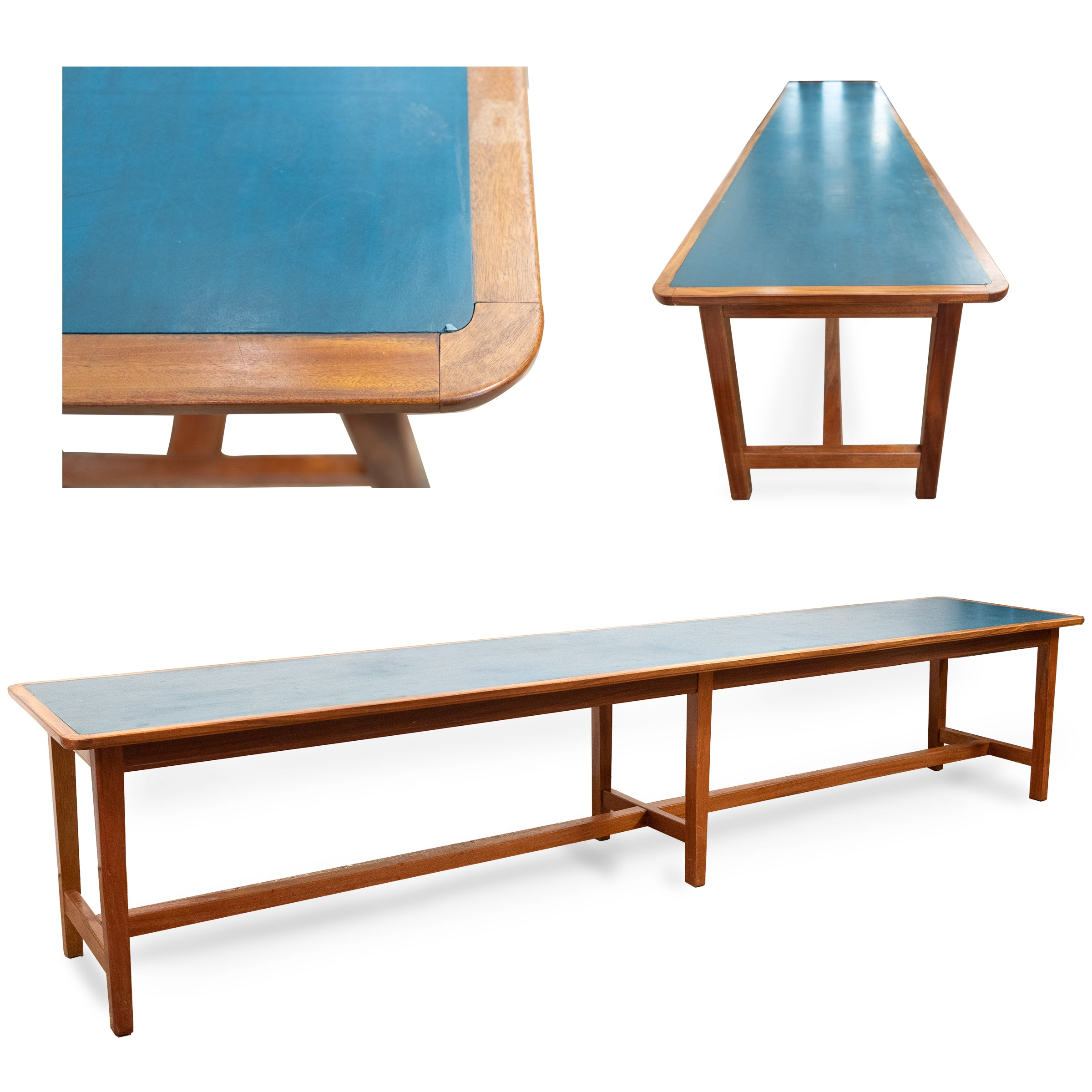Long Mid-Century Mahogany Table with Blue Top (2 available)