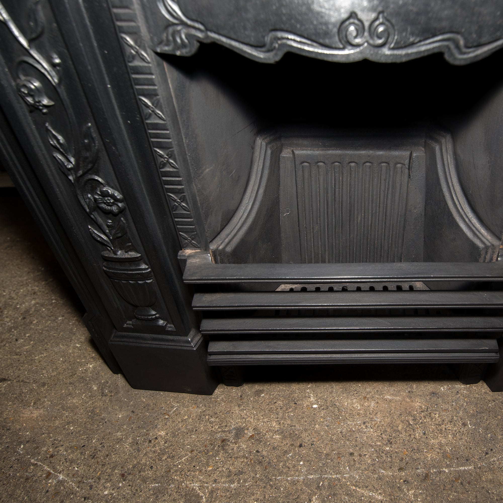 Antique Art Nouveau, Edwardian Cast Iron Combination Fireplace - architectural-forum
