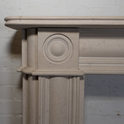 Reclaimed Georgian Style Limestone Bullseye Fireplace Surround