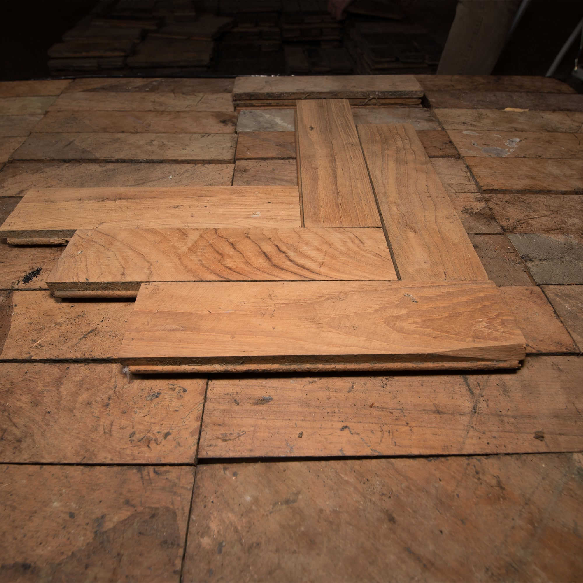 Antique Reclaimed Teak Parquet Flooring 14m² | The Architectural Forum