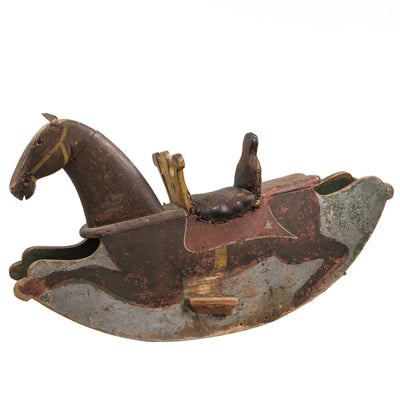 Antique Pine Children's Toy Rocking Horse - architectural-forum