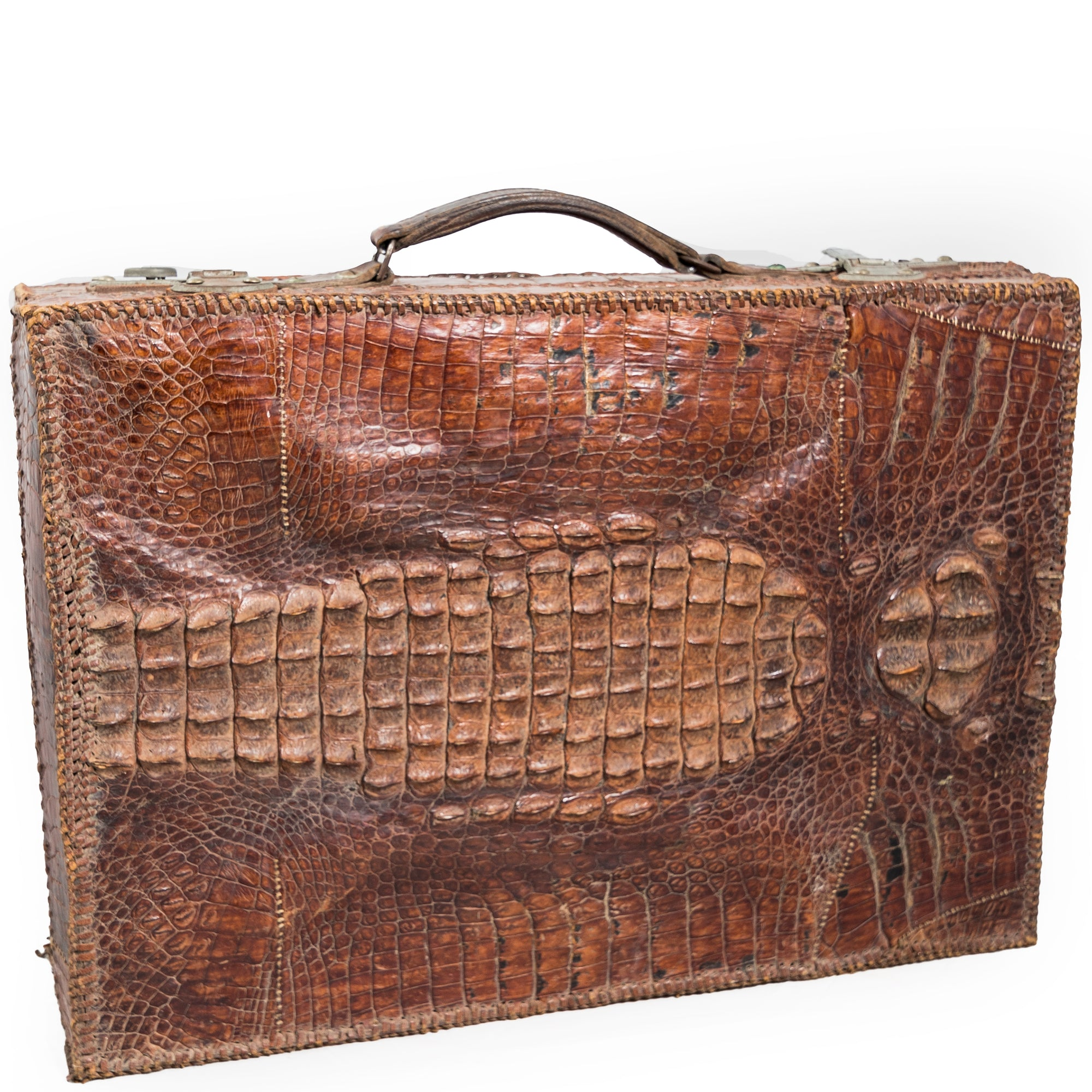 Antique Crocodile Skin Briefcase