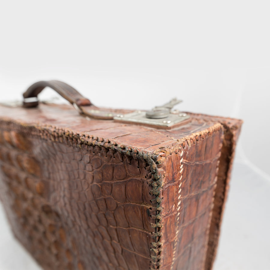 Reclaimed Antique Crocodile Skin Briefcase
