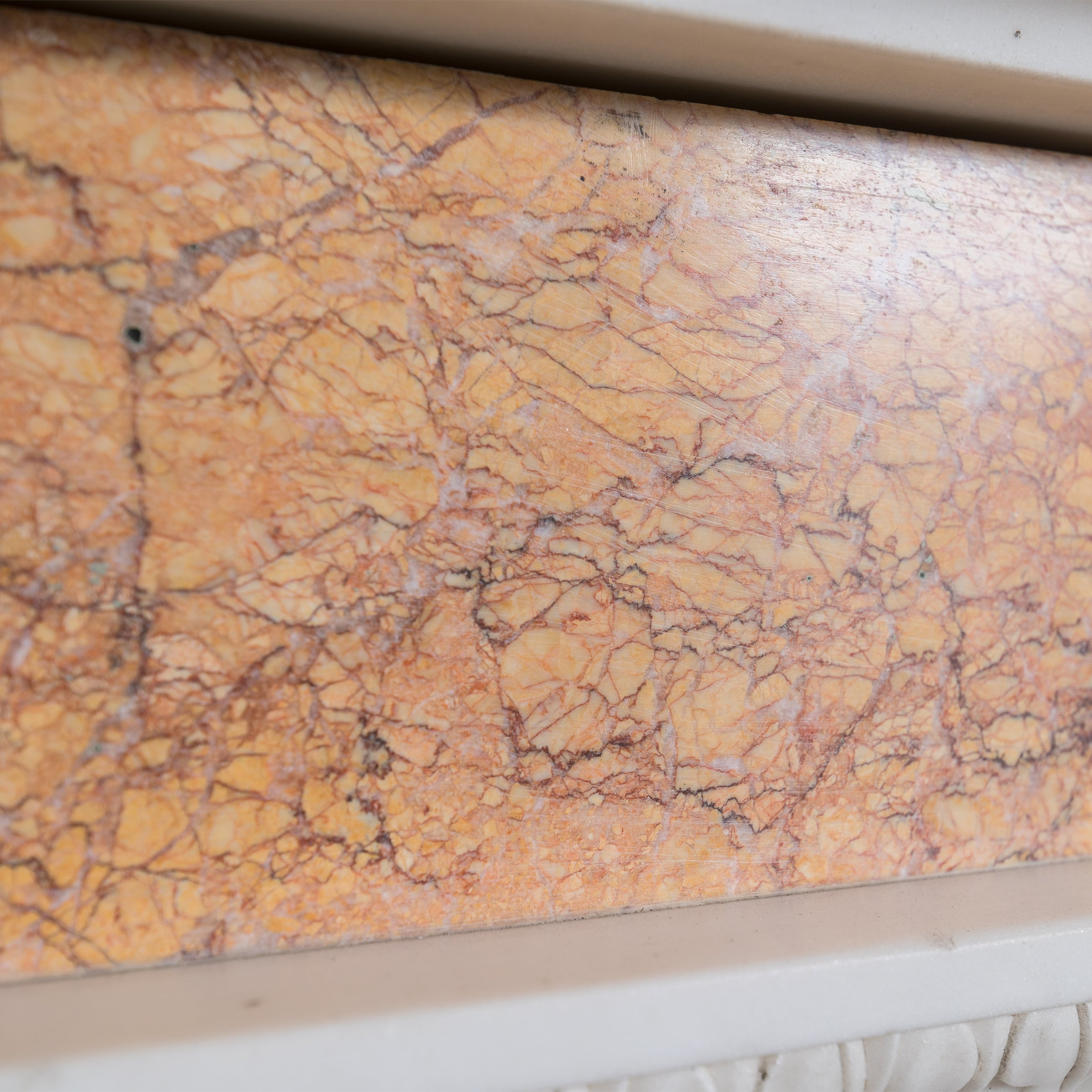 Antique Brocatelle Marble Fireplace Surround
