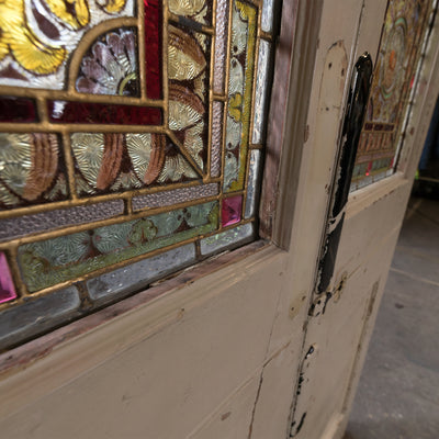 Antique Victorian Stained Glass Double Doors | Peace & Plenty - The Architectural Forum