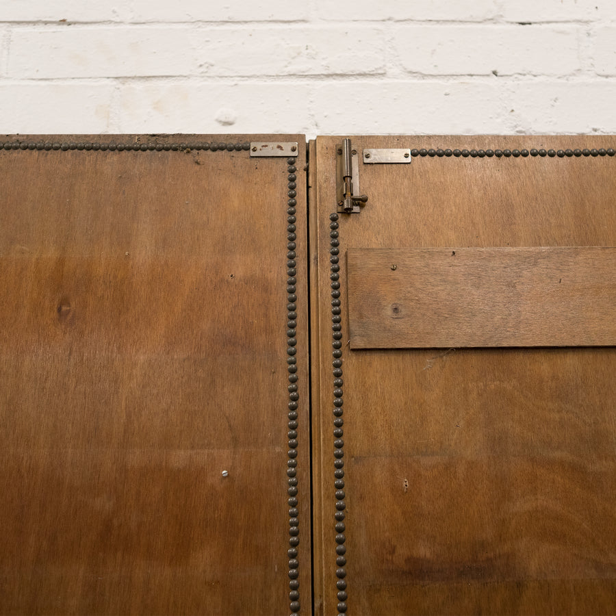 Reclaimed Panelled Pine Double Doors With Animal Hide & Studs 180cm x 122cm