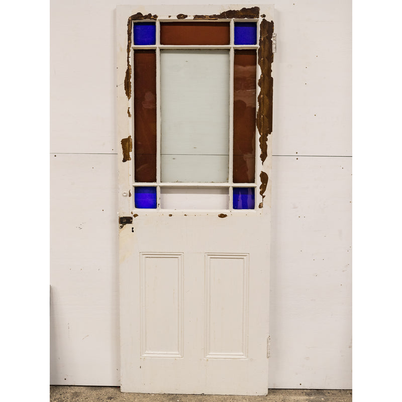 Antique Victorian Stained Glass Door 195.5cm x 75.5cm - The Architectural Forum