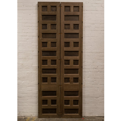 Reclaimed Panelled Pine Double Doors 267.5cm x 113cm - architectural-forum
