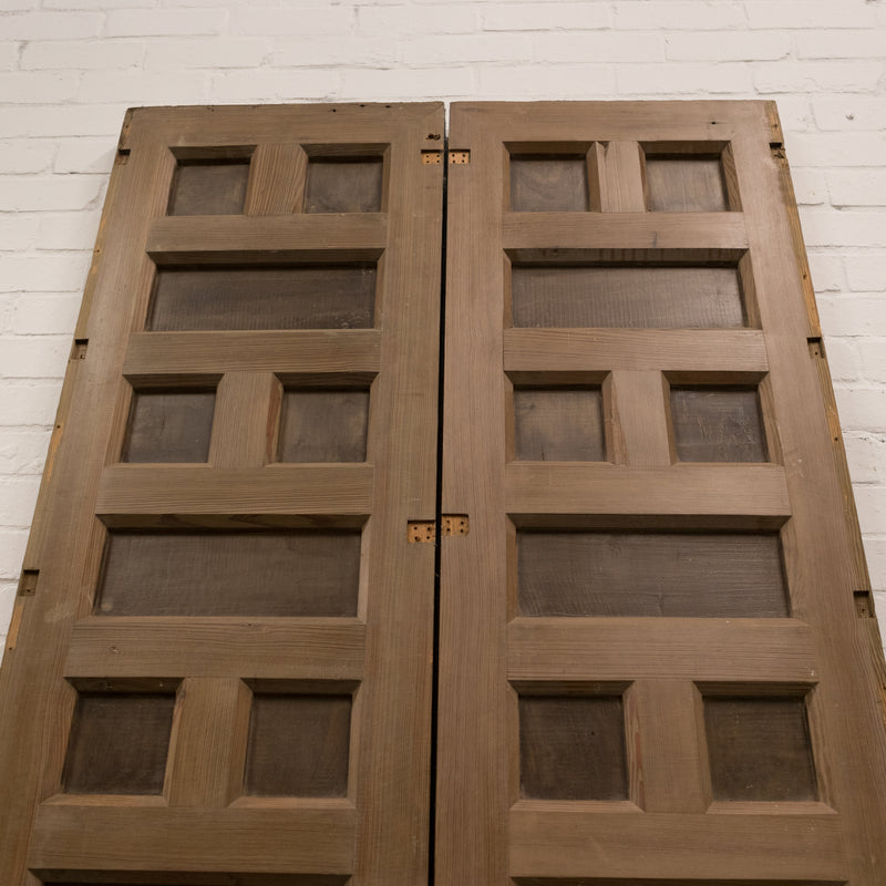 Reclaimed Panelled Pine Double Doors 267.5cm x 113cm