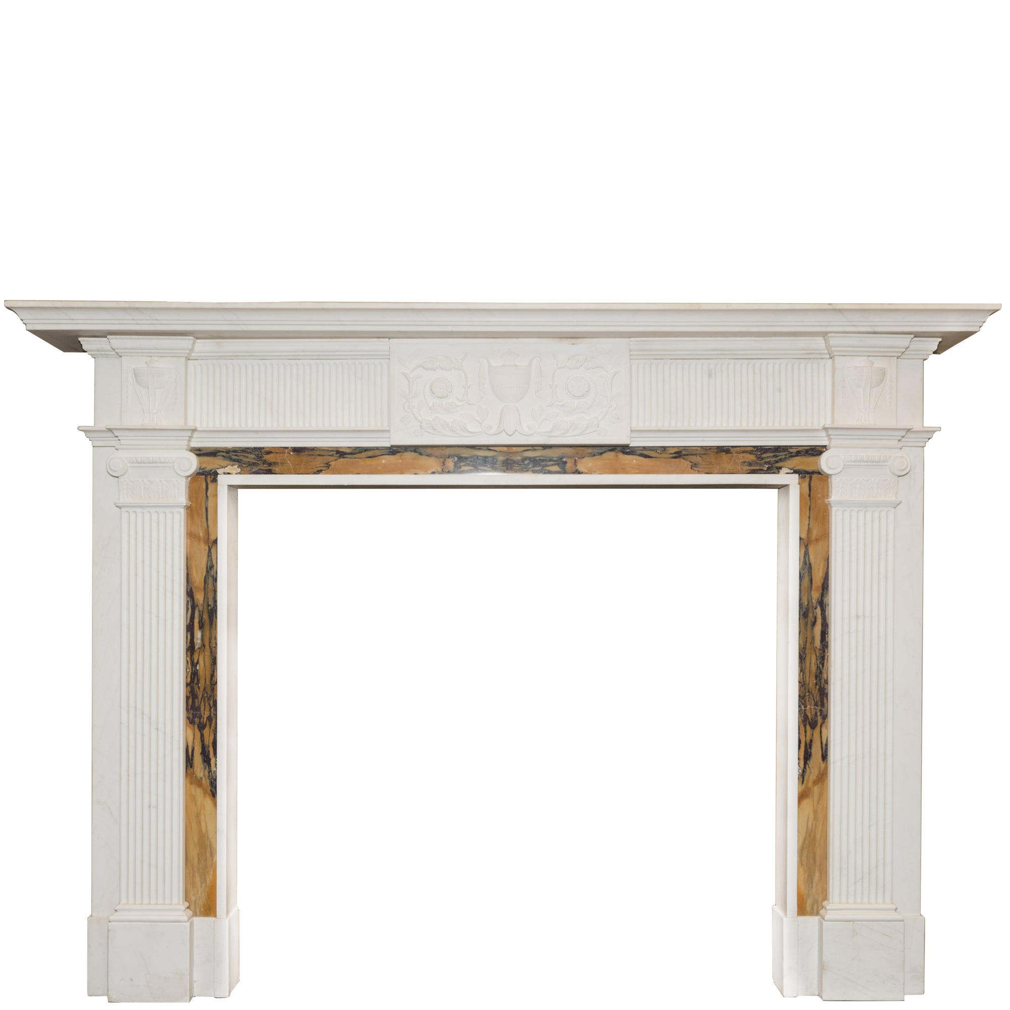 Georgian Style Statutory & Sienna Marble Fireplace Surround - architectural-forum