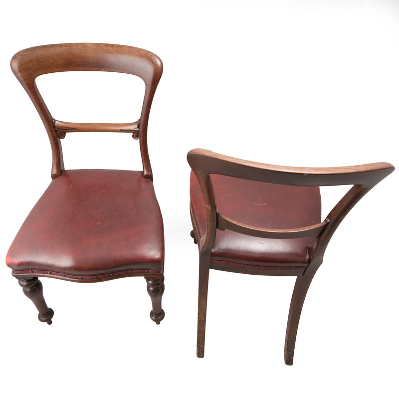 Pair of Victorian Mahogany and Leather Chairs