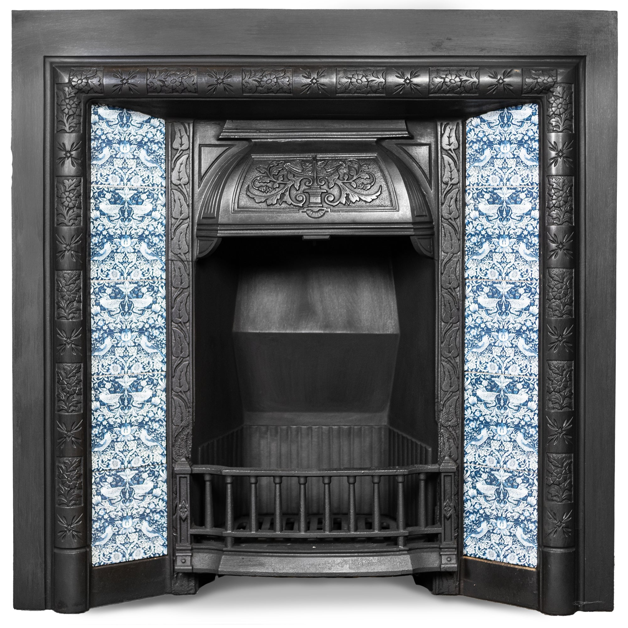 Antique Victorian Cast Iron Fireplace Insert with Blue Bird Tiles | The Architectural Forum