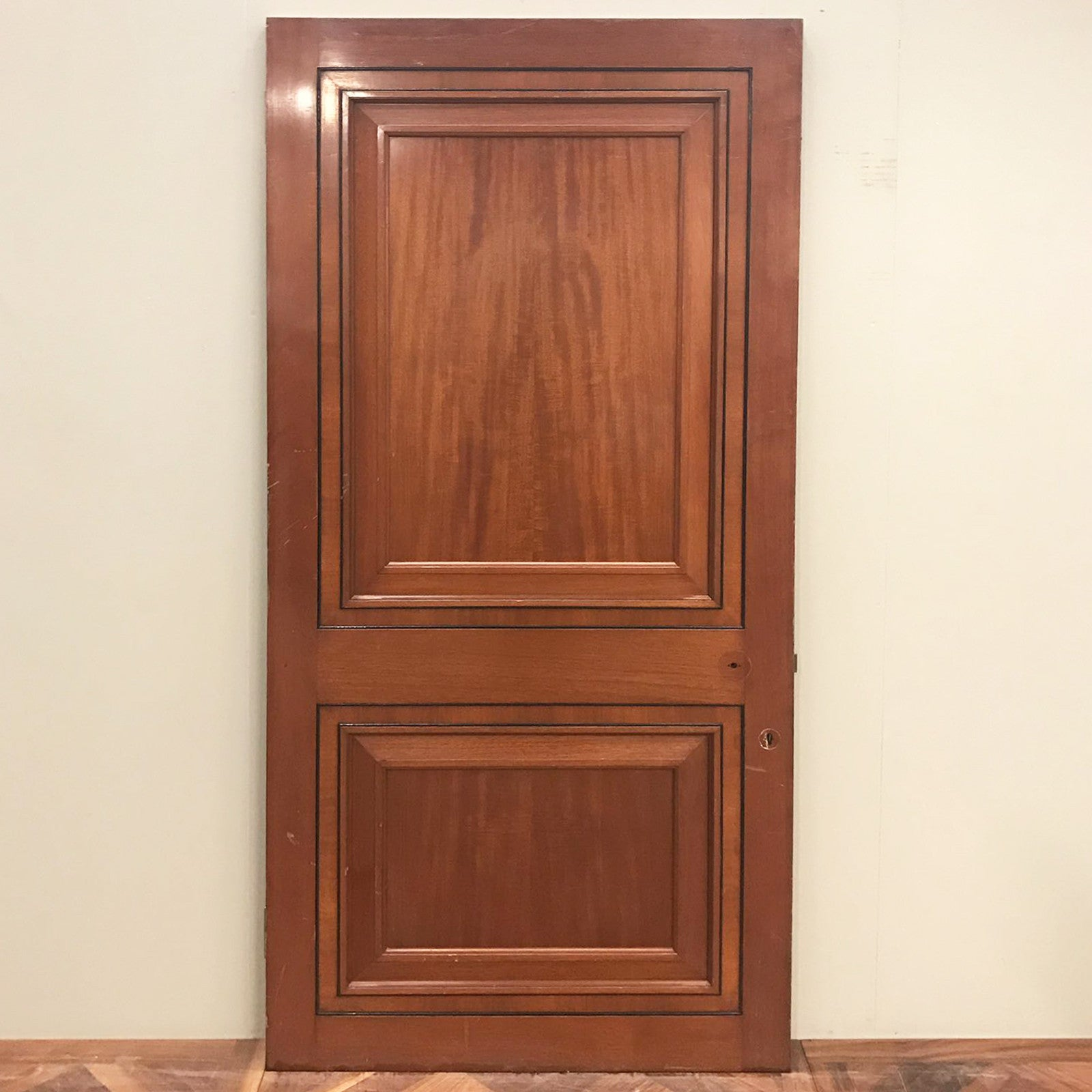 Reclaimed Art Deco Panelled Mahogany Door - 207cm x 98.5cm x 4.5cm - architectural-forum