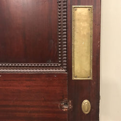 victorian mahogany orante door with brass finger plate