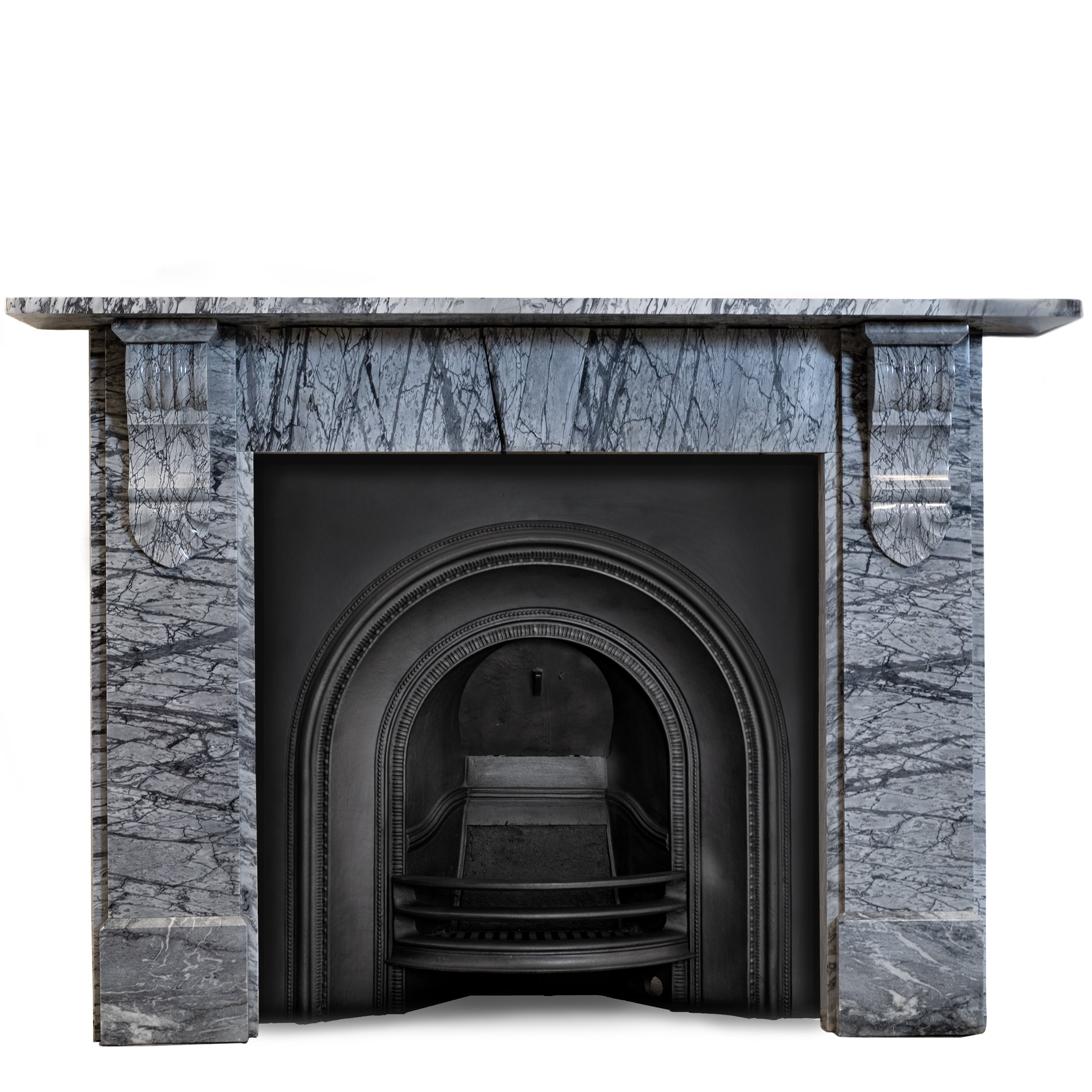 Bardiglio Veined Grey Marble Fireplace Surround with Corbels