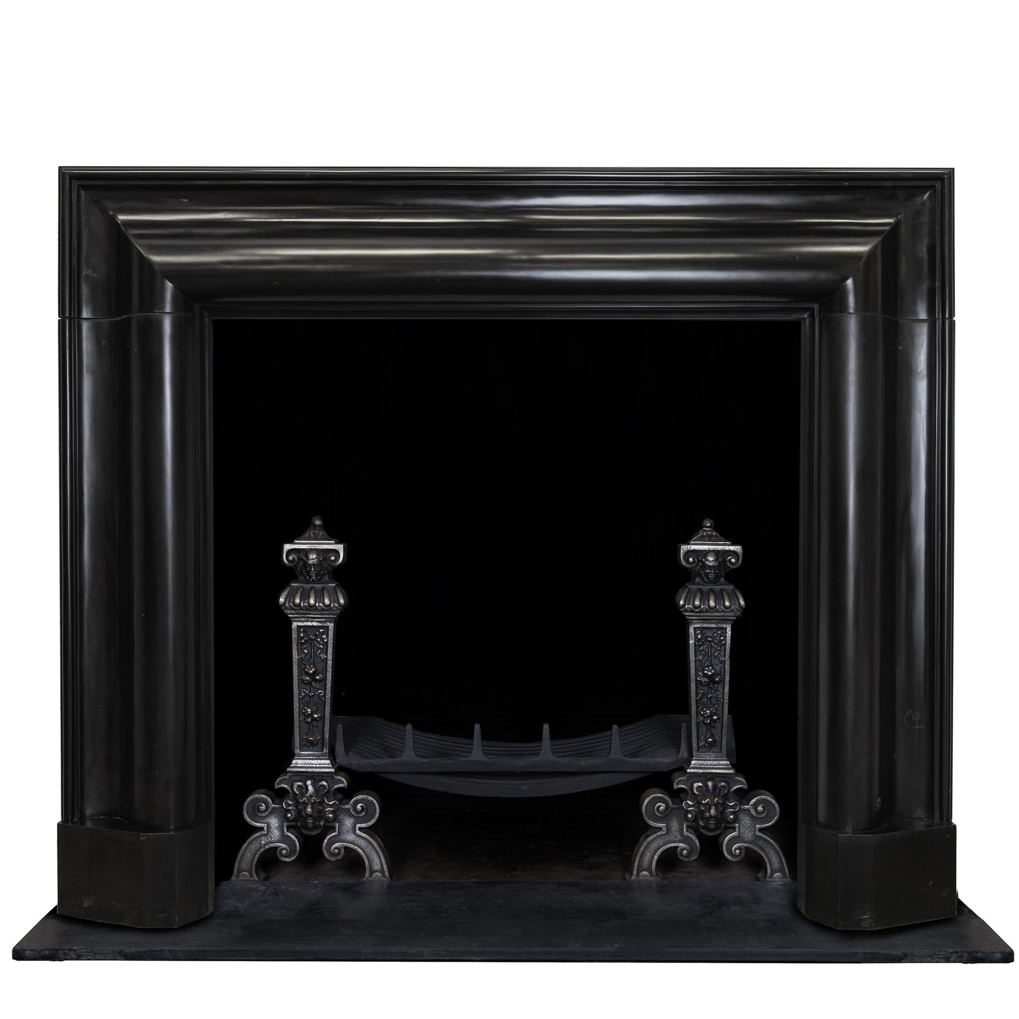 Reclaimed Belgian Black Marble Bolection Chimneypiece with Fossil Inclusions | The Architectural Forum